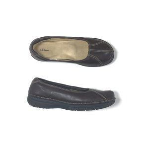 L.L. Bean Brown Leather Flats Women's Size 8.5 M